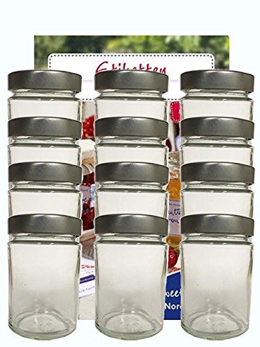Valpotten, set van 8 stuks, 310 ml, hoog deksel, kleur zilver (8 etiketten NZ), om te beschrijven, huishoudsetiketten, inmaakpotten, jam, glazen, soepen, pasta, enz, Sweet Family Nordzucker