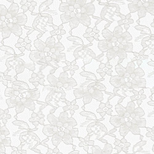 White Raschel Lace Fabric  Sold by The Yard (FB)