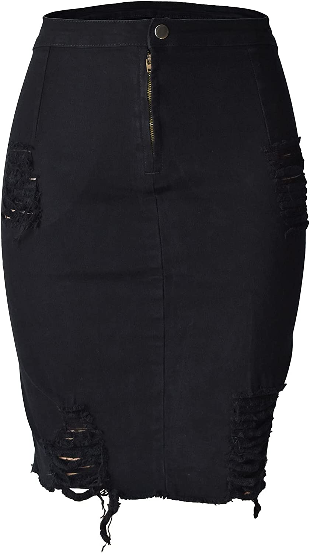 Aodrusa Womens Stretch Denim Ripped Mini Skirts Short Jean Casual A Line Above Knee Length