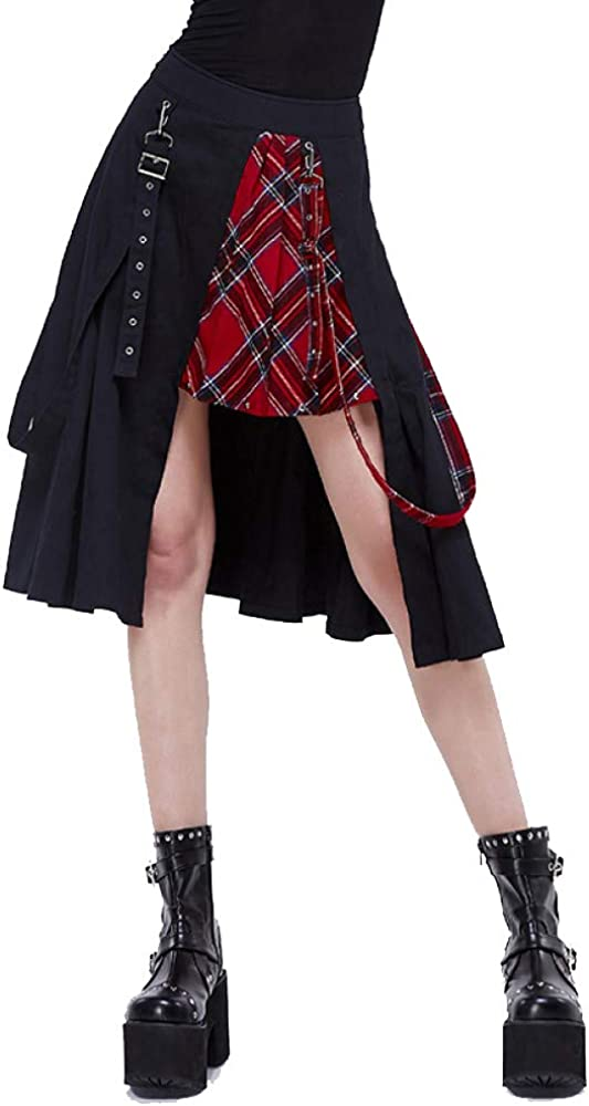 Devil Fashion Punk Streetwear Pleated Rock Skirts for Women Splicing Black and Red Plaid Skirt Women