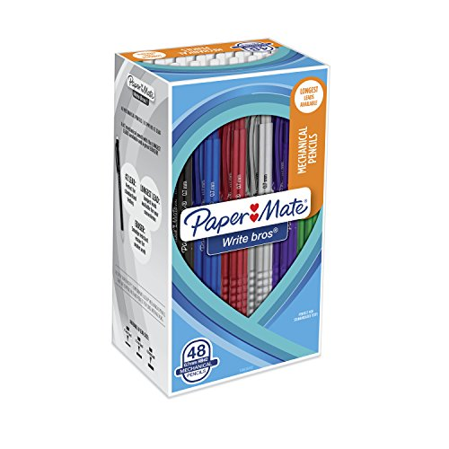 Paper Mate Write Bros. Mechanical Pencils, 0.7mm, HB #2, Assorted Colors, 48 Count