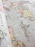 Tela de algodón beige con patrón mapamundi para tapicería y cortinas - 140 cm de nacho (se vende por metros)