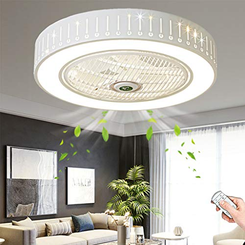 Ventilador De Techo Con Iluminación Moderno Ventilador Luz LED Velocidad Del Viento Ajustable Regulable Ventilador De Control Remoto Lámpara De Techo Para Dormitorio Sala De Estar Comedor Oficina (A)