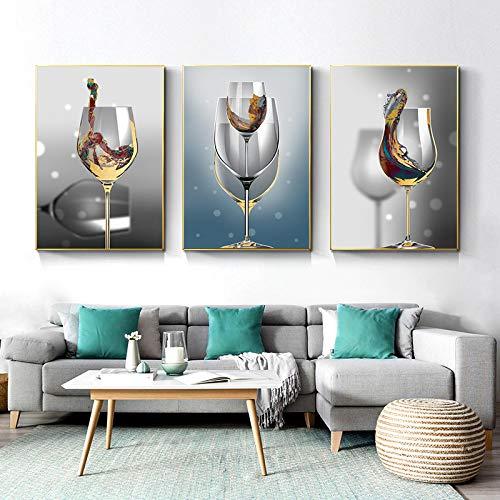 CHMIJ Creativo Moderno Abstracto Copa de Vino Pinturas en Lienzo Carteles e Impresiones Cuadros de Arte de Pared para la decoración de la Sala de estar-50x70cm 3 Piezas sin Marco