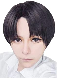 NiceLisa High Quality Short Side Parted Black Brown Hairs mixed Boy Male Cosplay Costume Anime Wigs