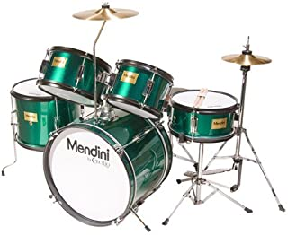 Mendini by Cecilio 16 inch 5-Piece Complete Kids / Junior Drum Set with Adjustable Throne, Cymbal, Pedal & Drumsticks, Metallic Green, MJDS-5-GN