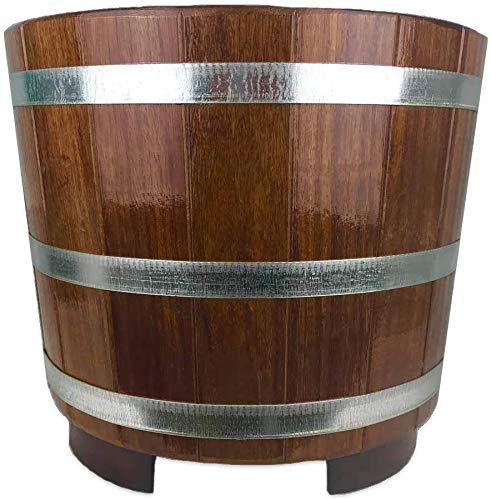 SudoreWell® Hohe Sauna Fußwanne aus Kambalaholz mit Wasserablauf + Clicker-Ventil Plus Sockel