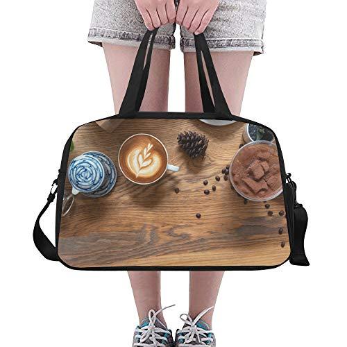 Zemivs Leckerer affektiver Kaffee Große Yoga Gym Totes Fitness Handtaschen Reise Seesäcke Schultergurt Schuhbeutel für die Übung Sport Gepäck für Mädchen Männer Frauen Outdoor