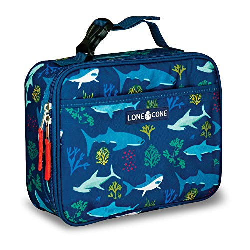 LONECONE Kids Insulated Fabric Lunch Box - Fun Patterns for Boys and Girls Shark Attack Standard