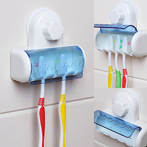 XKMY Cepillo de dientes titular de cepillo de dientes de plástico succión 5 titular de cepillo de dientes montaje en pared rack hogar accesorios