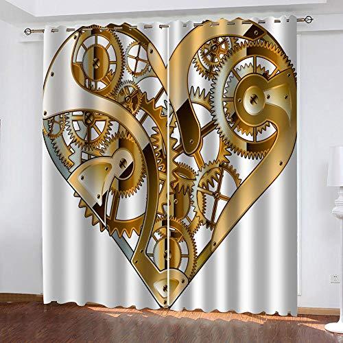 wangcheng1 Liebesmaschinen-Vorhang Blickdicht Kinderzimmer Gardinen mit Ösen Verdunkelungsvorhang für Schlafzimmer Thermo Vorhänge 2 Stücke 168X229cm(BxH)