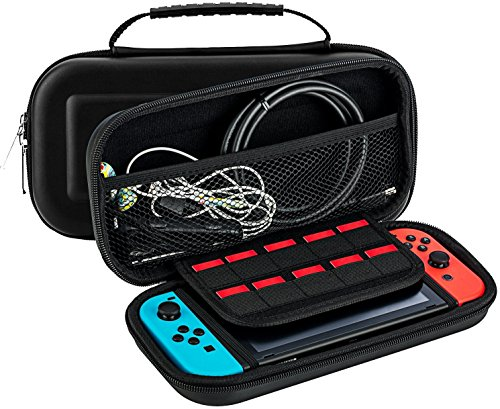 Best Game Travel Case 10 Game Holder Quality Protective Portable Hard Carry Case Pouch for Nintendo Switch Console Black