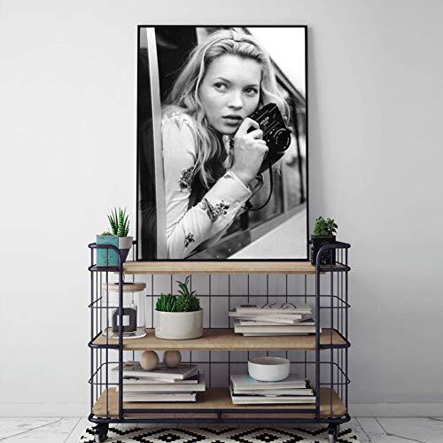 QAZEDC kunstdruk linnendecoratie schilderij mode poster muurkunst kate moss fotografie drukt zwart-wit supermodel foto canvas schilderij wandschilderijen modern decor