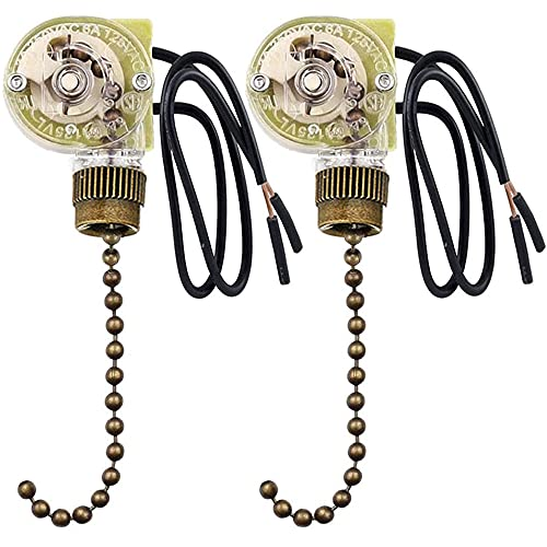 Ceiling Fan Switch Zing Ear ZE-109 Two-wire Light Switch With Pull Cords For Ceiling Light Fans Lamps and Wall Lights Pull Chain Switch Control Replacement On-Off with Pull Chain,2 Pack Bronze