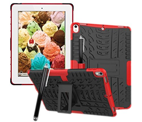 Price comparison product image Rugged Hybrid Dual Layer Tough Protective Case Stand Cover For iPad Pro 10.5 Inch 2017 Version Model A1701 A1709 (Black+Red)