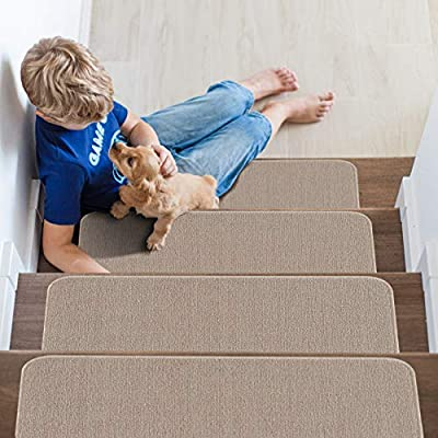 "Beverly Rug Solid Color Indoor Carpet Stair Treads 8.5""x26"" Beige Set of 7"