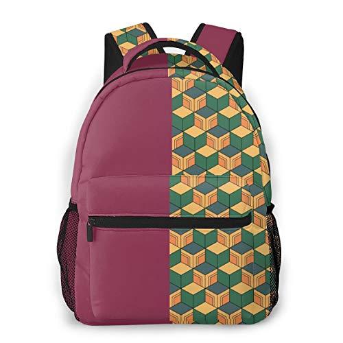 Cszxx Camping Backpack Demon Slayer Kimetsu No Yaiba Fashion Camping Bag Travel Durable Large Space Lightweight Daypack