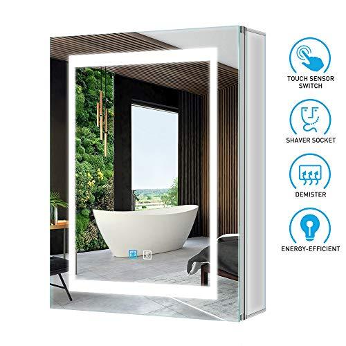 Tokvon Viewfinder 50x70cm Spiegelschrank LED Badezimmer Spiegelschrank mit Beleuchtung Wandschrank Licht Aluminium Beschlagfrei Rasier Steckdose Touch