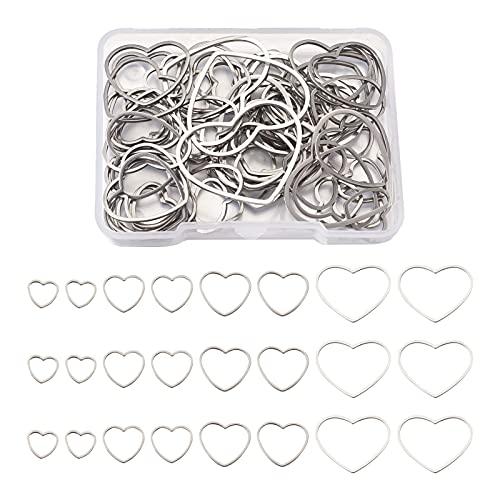 PandaHall 70 anillos de acero inoxidable con forma de corazón, con marco hueco, 4 tamaños, para hacer joyas, collares, pulseras, pendientes, etc