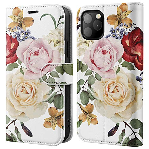 BEMAL for iPhone 12 Wallet CaseiPhone 12 Pro Flip CaseRFID Blocking Credit Card HolderFolio PU Leather Cover with Fashionable Designs Phone Case for iPhone 12/12 Pro 61quot Pink Champagne Flowers