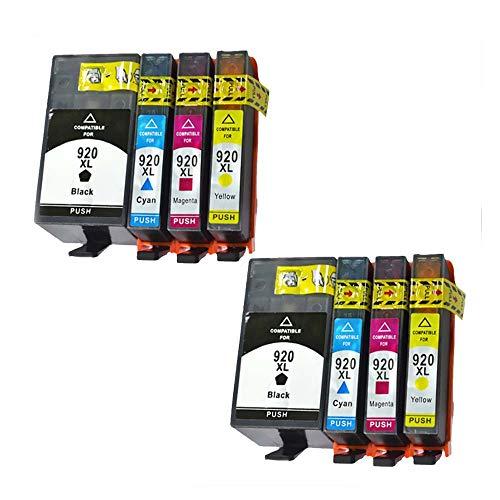 Teland - Cartuchos de tinta de repuesto para HP 920XL 920xl HP 920 XL compatible con HP Officejet 6000 6500 7000 7500 E709 E910 (lote de 8)