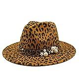 Fedora Invierno Leopardo Estampado Algodón Fieltro Jazz Fedora Sombrero Cinturón Hebilla Hombres Mujeres De Ala Ancho Gorra Panamá Fiesta Formal Moda 2020 Top Hat