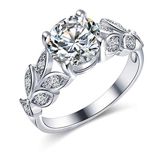 Anillo de mujer de plata chapado con circonitas brillantes, diseño floral con hoja de cristal, talla 20 - DE 19 - FR 19,5 - UK R - US 9