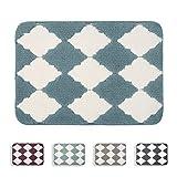 Beqhaus Geometrischer rutschfester Badteppich, wasserabsorbierend, weiche Mikrofaser, zottelig, für Badezimmer, dicker Plüschteppich für Dusche, maschinenwaschbar (43,2 x 61 cm, blau)