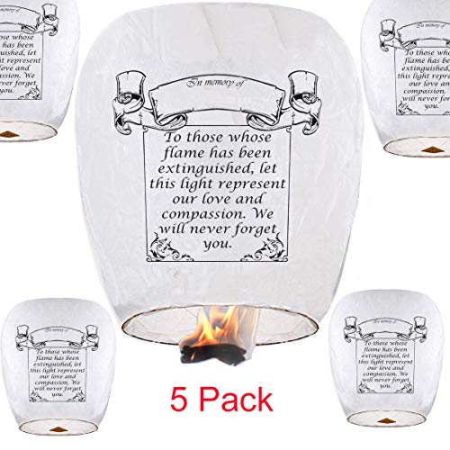 Chinese Lanterns,Biodegradable Sky Lanterns (5 Packs, White)