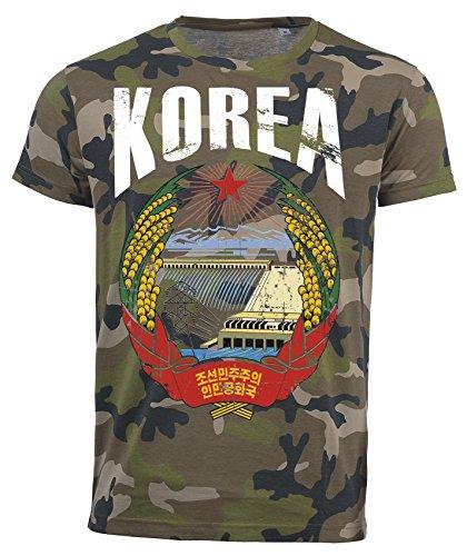 T-Shirt Nordkorea Camouflage Army WM 2018 .- Vintage Destroy Wappen D01 (M)