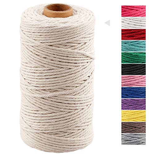 Macrame Cord 3mm x 328 Feet,Natural White Rope String,Cotton Cord Twine for Wall Hanging Plant Hangers Crafts Knitting Decorative Projects Soft Cotton Rope (Beige)