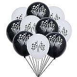 NUOBESTY 20 Stücke Latex Luftballons mit Karierten Fahnen Muster Racing Fahnen Luftballons Dekorative Luftballons für Autorennen Themenorientierte Party Dekoration Liefert (Schwarz Weiß)