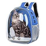 Mochila para Gatos y Perros: Bolsa de Transporte para Mascotas - Mochilas PortáTil de Viaje Cápsula Espacial Transparente Transpirable para Gato y Perro - Medianos Pet Backpack de Transportin | Azul