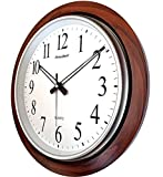LYONIC President Analog Quartz Official Designer Big Size Wall Clock for Home, Hall,Office (42 X 42 cms Color-Wood and White) Made in India