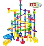 JOYIN Marble Run Premium Toy Set (170 Pcs), Construction Building Blocks Toys, STEM Educational Building Block Toy(120 Plastic Pieces + 50 Glass Marbles)