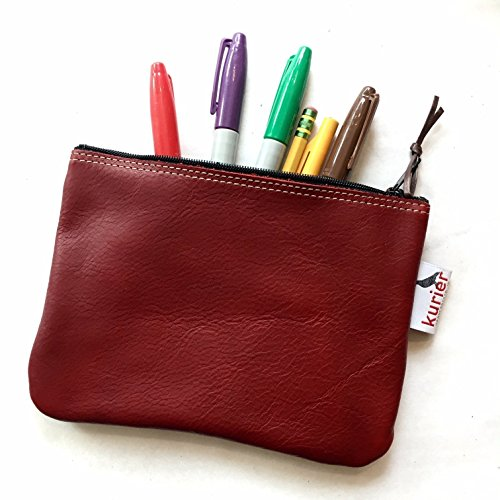 """Maroon / wine /deep red leather make-up Kurier """"perfect"""" pouch, pencil case, personal stash bag Great gift!"""