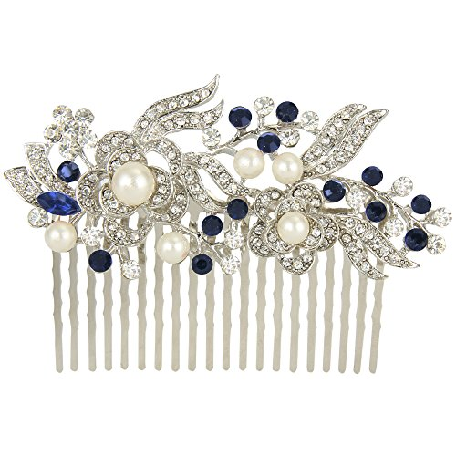 EVER FAITH® - Cristal Gatsby Inspirado Color Marfil Perla Simulada Peineta de Pelo - Azul -20-Dientes-Plata-Tono