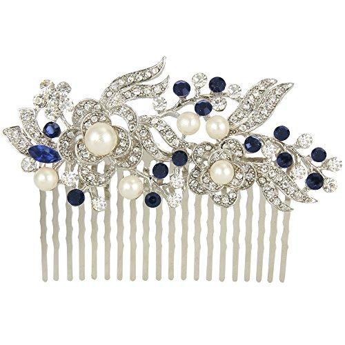 EVER FAITH - Cristal Gatsby Inspirado Color Marfil Perla Simulada Peineta de Pelo - Azul -20-Dientes-Plata-Tono