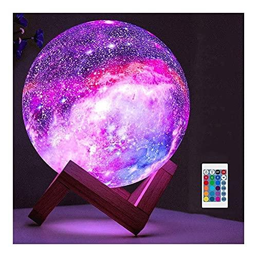 TRPYA Lámpara de Luna Lámparas de luz de la Noche, 16 Colores LED Star Light Light con Soporte de Madera, Control Remoto y táctil USB Regalo Recargable para niñas Chicos Navidad (Size : 15cm)