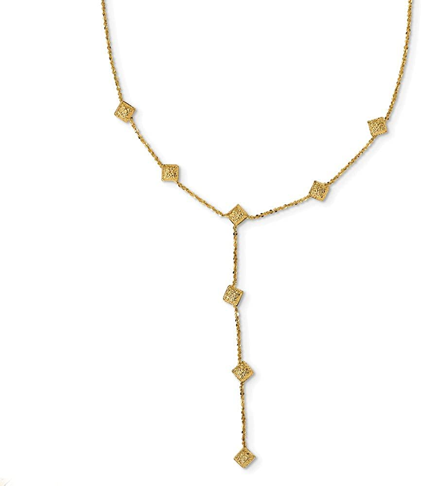 Solid 14k Yellow Gold and Textured Y Drop Necklace