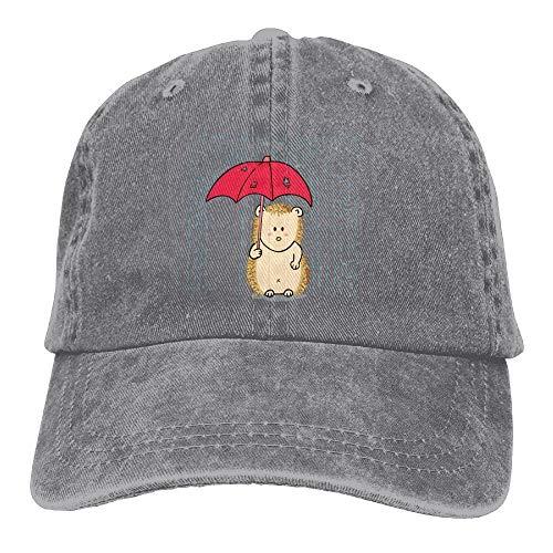 FTTUTY Hedgehog with Umbrella Rain Denim Hat Adjustable Mens Stretch Baseball Hats