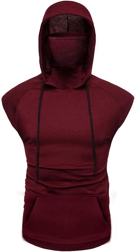 7789 Mens Hooded Solid Color Sports Vest Cap Sleeve Muscle Bodybuilding Summer Hoodies Splice Slim Fit Male Vest