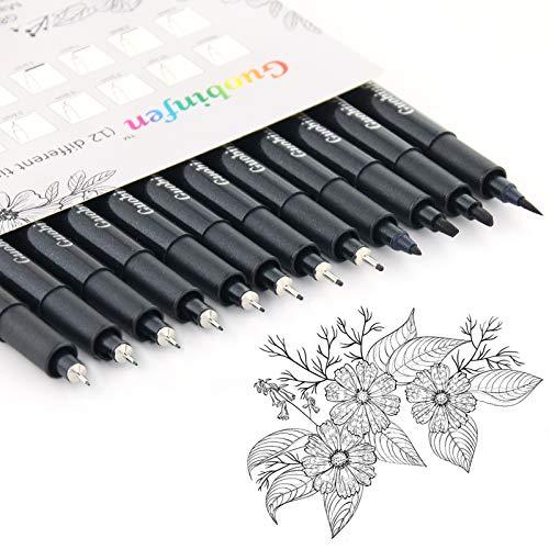 GUOBINFEN Set of 12 Black Micro-Pen Fineliner Ink Pens, Pigment Liner Professional Set Waterproof Archival Ink for Office Document Designing Technical Sketching Anime Artist Illustration Scrapbooking