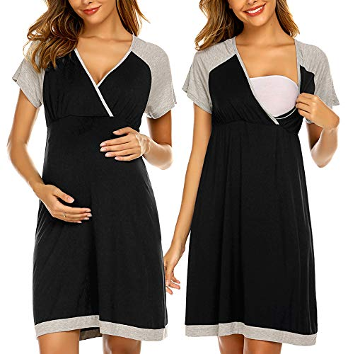Ekouaer Women's Maternity Dress Nursing Nightgown Baseball Breastfeeding Full Slips Sleepwear (Black M)