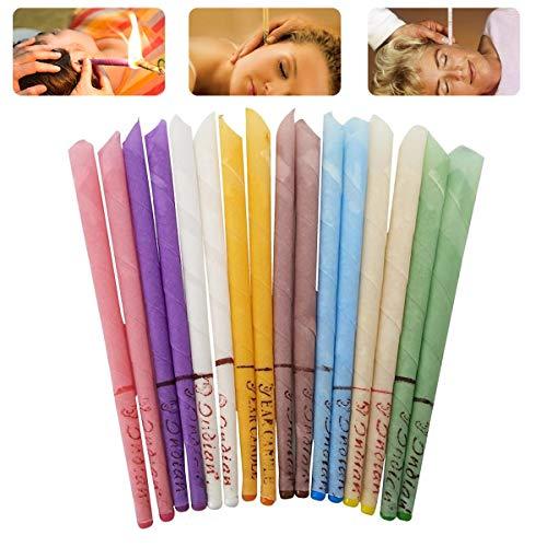 Ledeak 16 Pcs Coloré Bougies d'oreille, Dissolvant à la Cire d'oreille Cônes de Naturel Bio Bougies en Cire d'abeille avec Cylindres Non Toxiques Parfum pour Détendez-vous et Nettoy