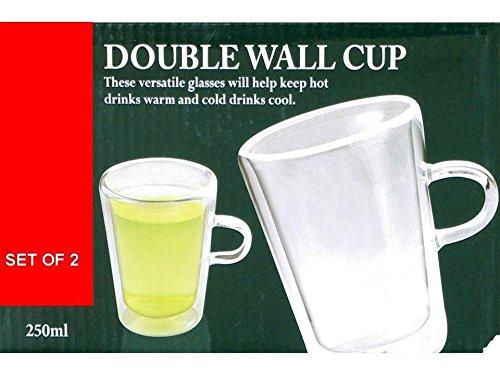2 x DOPPELWANDIGES THERMO-GLAS, FÜR TEE/KAFFEE LATTE CAPPUCCINO TASSE, HITZEBESTÄNDIG, 250 ML