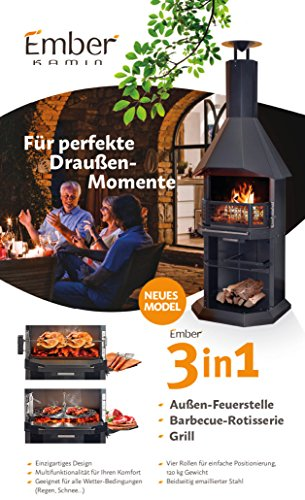 Barbecue Garden Chiminea Large Black Enamelled