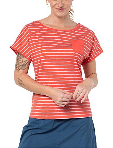 Jack Wolfskin Travel rayé T Femme XS Hot Coral Stripes