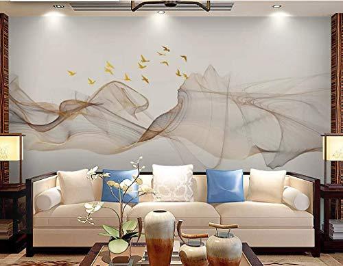HONGYUANZHANG Goldene Linie Vogel Custom 3D Photo Wallpaper Künstlerische Landschaft Tv Hintergrundbild,140Inch (H) X 172Inch (W)