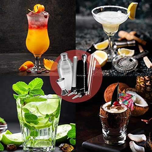 NATUMO ® Cocktail Shaker Set Edelstahl - 10 teiliges Cocktailshaker Set, Cobbler Shaker, Doppel-Messbecher, Stößel, Dosierer, Löffel, Strohhalme - 3